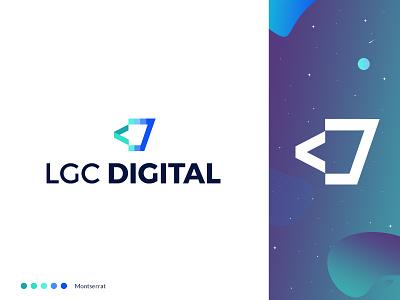 LGC Digital Re-brand coffee cup coffee gradient logos logo design branding typography design vector logo