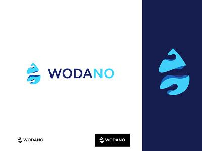 Wodano - Water supplier logo water typography gradient logo design 3d design vector logo