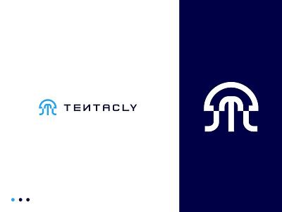 Tentacly logo - Digital Jellyfish logos logo design simple typography design vector logo