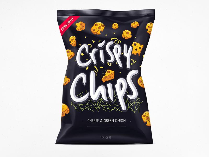 Crispy Chips! shod4n food potatoes logotype logo bag chips crispy packaging cheese onion yummy