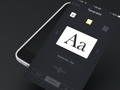 Typography Settings Screen shod4n fonts type typography ios app settings iphone ui interface ios7
