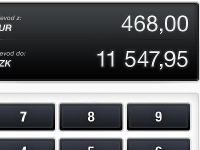 CSOB iPad Interface #03 convert light buttons numbers calculator ui interface ios ipad bank banking csob display