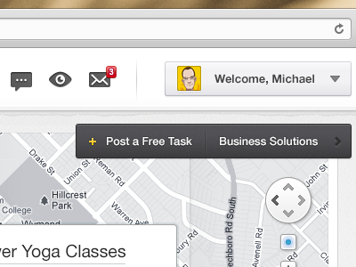 Map Web App - Detail #01 web webdesign ui map icons location user menu navigation gps
