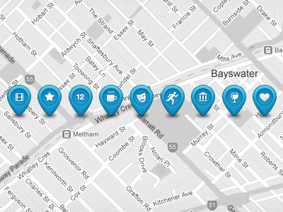 Custom Vector Map Pins and Icons PSD map pins icons categories city location maps icon google pin vector market psd resource