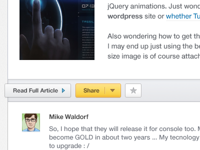 Work in progress ... user preview web webdesign sneak peek wip share article button