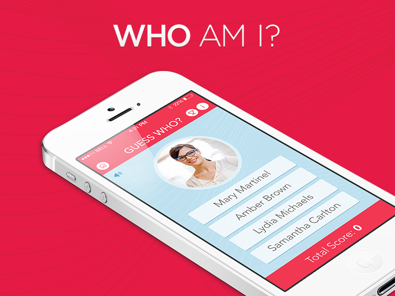 """""""Who Am I?"""" Employee Identification Game mobile apps ui ux ios design interface"""
