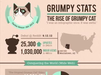 Grumpy Stats –The Rise of Grumpy Cat grumpy cat cats infographics data visualization information architecture fun info stats statistics data internet memes tardar sauce