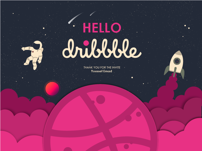 Hello Dribbble! mannaa mix white violate stars space purple planet first shot