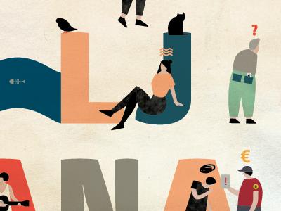 Oh! Ljubljana colours typography animation illustration