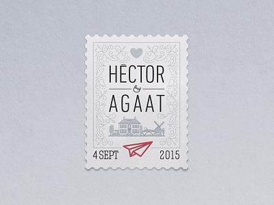 Wedding in Holland logo stamp mail post plane heart illustration holland logo wedding