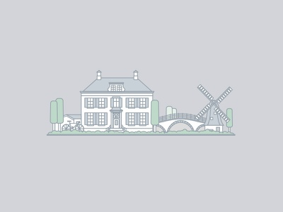 Holland landscape green utrecht amsterdam bike bridge tree house windmill illustration holland