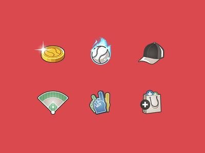 Baseball Game Icons ui cap fire field shop foam hand coin star ball manager baseball