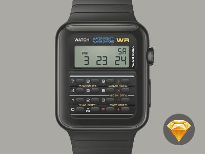 Casio Apple Watch - Free Sketch time png face freebie free vector sketchapp sketch calculator casio watch apple