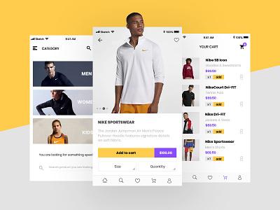 Sports Clothes App ecommerce store shop marcinrumierz nike clothes intervi clean mobile ux ui app