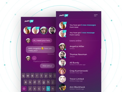 Puff Chat App conversation message chat communication intervi modern clean mobile ui ux app