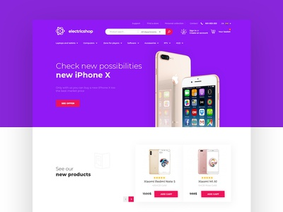 Electronic store webdesign product design flat electronic store shop ecommerce clean intervi landing ux ui