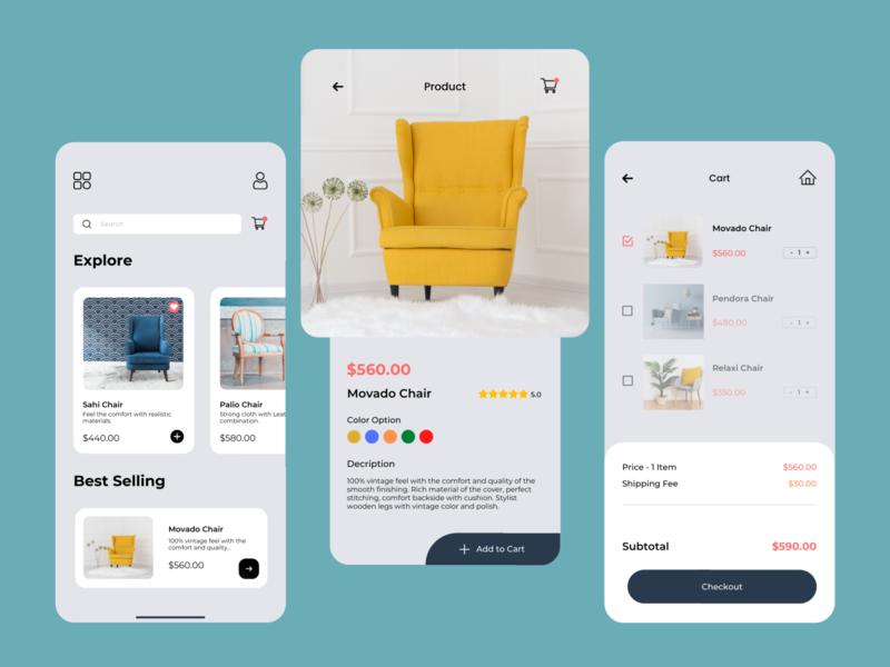 Furniture Shopping App Interface Design e-commerce shop e-commerce app online shop furniture store furniture app mobile application mobile app mobile app design app interface app design