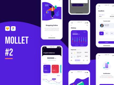 Mollet - Wallet app UI Kit #2 bank card banking bank finance wallet ux design mobile ui app ui kit ui app