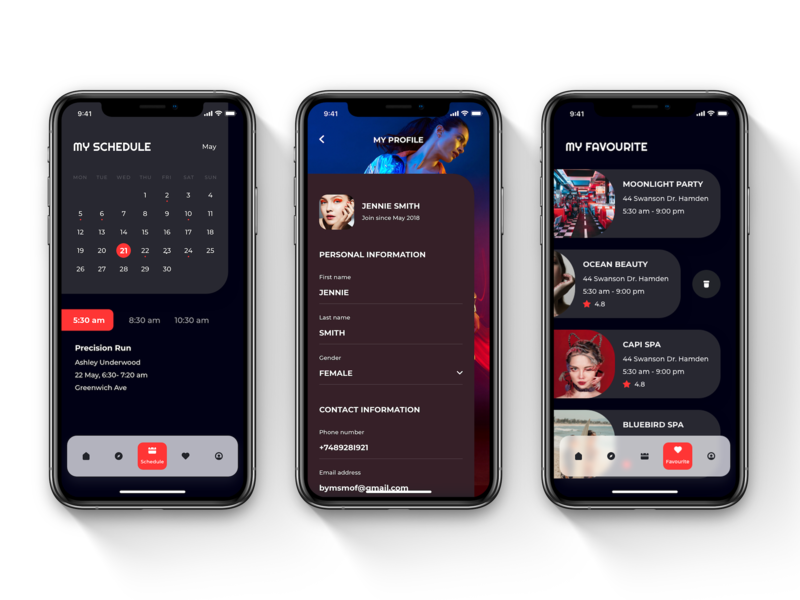 OVERRUN - Fitness, beauty, class, concert & event booking profile schedule yoga travel app ux uikit design light mode fitness app dark theme dark mode booking app booking app design mobile app ui ui ux ui kit user interface ui design