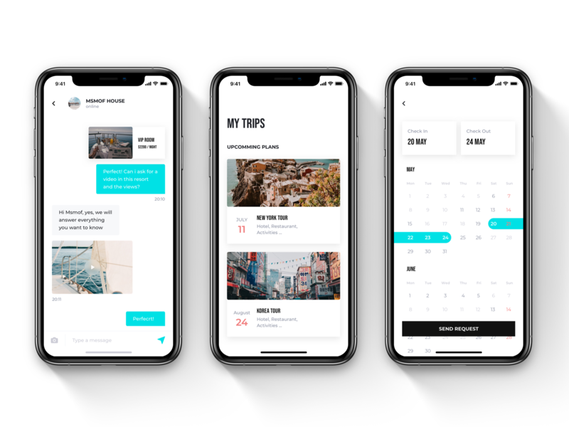 METHYST - Travel & Booking UI Kit minimalist clean ui clean mobile app tour trips chat chat app hotel booking calendar travel app travel uikit booking app booking ui ux ui kit user interface ui ui design