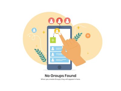 No Group Found user hand group mobile phone found no group design illustration vector