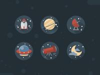 Космические иконки в Фотошоп в плоском стиле