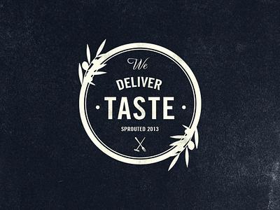 We Deliver Taste food logo vintage