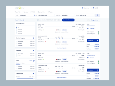 Flight Booking System – Symphony Corporate flight travel agency web application pricing offers search filters travel enterprise app software clean ui enterprise web admin uxui ux booking airline web app