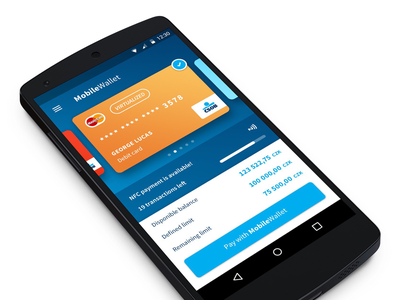 Mobile Wallet design material card wallet mobile app android