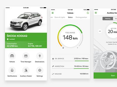 ŠKODA Connect design car connect remote automotive green skoda ios