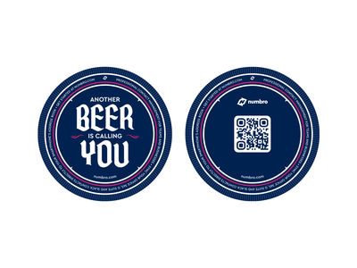 Numbro Beer Coasters drink vector branding call contact coaster beer print brand numbro