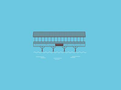Ponte Alpini's Illustration italy brown light blue bridge ux ui shape colors white icon flat illustration vector illustrator cc graphic design