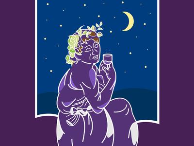 Bacchino illustrato adobe moon bacchino yallow violet blue shape white colors icon flat illustration vector illustrator cc graphic design