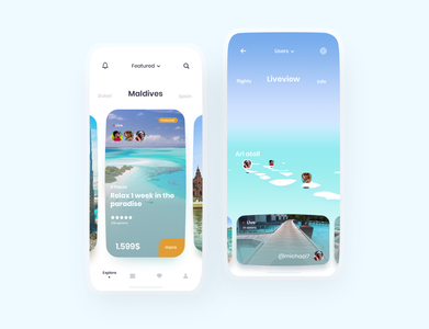 Travel app concept clean maldives beach travel gradient mobile minimal concept travel app