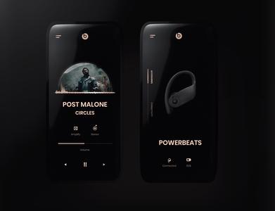 BEATS app concept dark ui premium elegant powerbeats beats uidesign mobile ui clean minimal design