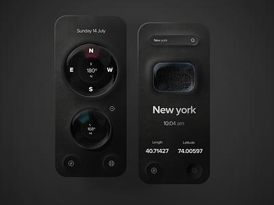Compass app concept location app location newyork uidesign gradient texture trendy clean minimal compass