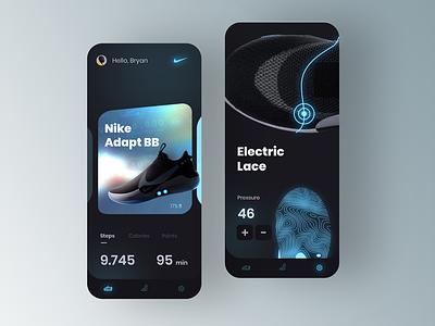 Nike adapt BB concept nike running gradient mobile uidesign clean nike app nikeair nike shoes sneakers sportwear nike minimal