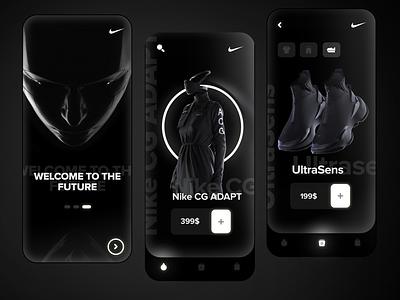 Futuristic nike clothing app shop ecommerce mobile trend nike running nike shoes nike cyberpunk futurism minimal