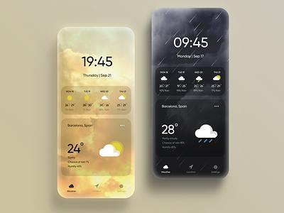 Weather app concept cloudy mobile ui minimal concept weather app rain sunny weather gradient mobile