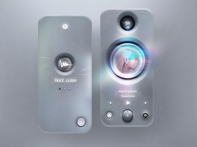 Beat pulse concept music player music speaker headphones beats mobile texture neumorphic neumorphism skeumorphic minimal