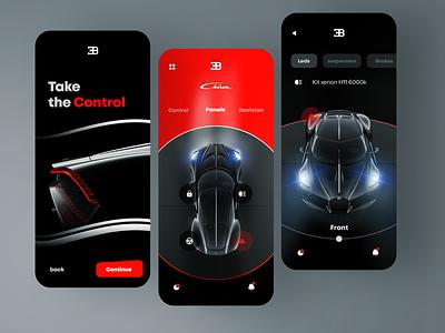 Car control app concept uidesign ui carcontrol minimal mobile 3d clean bugatti car