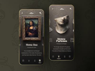 Virtual museum app concept golden baroque minimal illustration museums mobile uidesign monalisa art museum