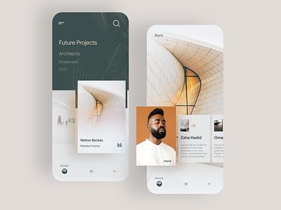Architecture app concept homescreen discovery mobile app uidesign minimal architect concept architecture