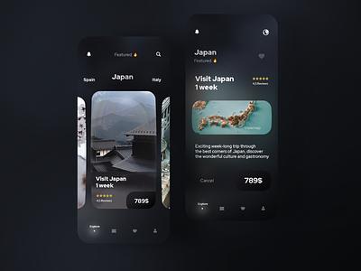 Travel app glassmorphism japan travel app ui clean uidesign mobile minimal