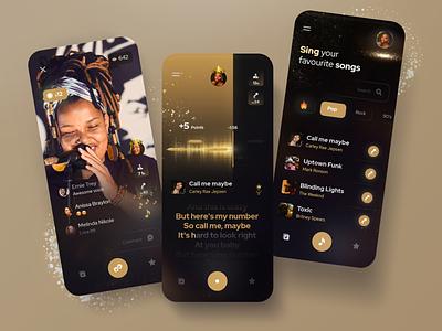 Karaoke app concept dark mode mobile uidesign minimal karaoke party golden