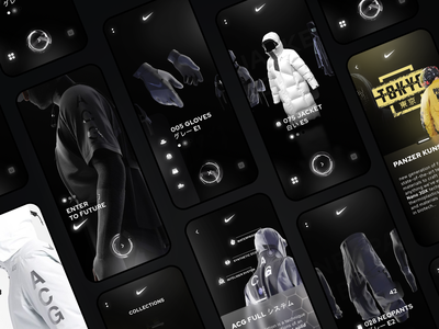 Nike futuristic clothing app futurist cyberpunk glassmorphism mobile uidesign dark mode clothes nike minimal