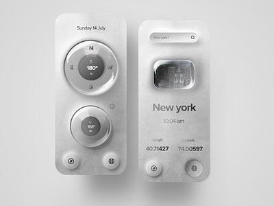 Compass app concept new york location texture ui neumorphism ui compass neumorphism uidesign mobile minimal