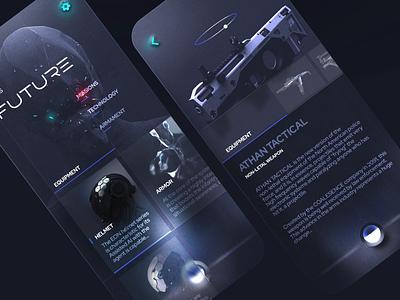 Future Police Info App Concept futuristic ui weapons neumorphism glassmorphism futurism police uidesign mobile minimal