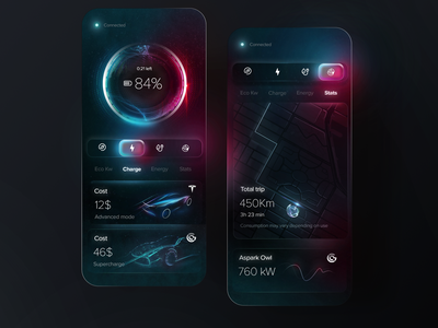 Electric car charger app concept mobile uidesign ui glassmorphism led neon charger electric car car app dark mode