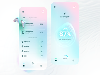 Device finder & manager finder manager device music headphones gradient clean mobile minimal